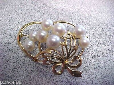 Spectacular     Mikimoto Pearl  Brooch / Pin   14k Gold    Make Offer
