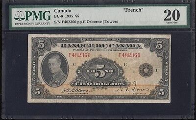 "Bc-6 1935 $5 Bank Of Canada ""french"" -- Pmg 20 Vf -- Wl3370"