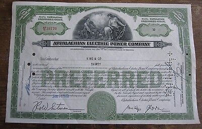 old stock certificate Appalachian electric Power Co