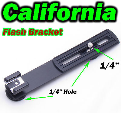 "Camera Flash Bracket Hot Cold Shoe Flashgun 1/4"" Screw Hole DC Arms Mount Tripod"