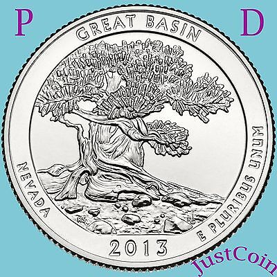 2013 P&d Great Basin Nv National Park Quarters Set Uncirculated From Mint Rolls