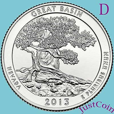 2013-D Great Basin Quarter National Park (Nevada) Uncirculated From Us Mint Roll