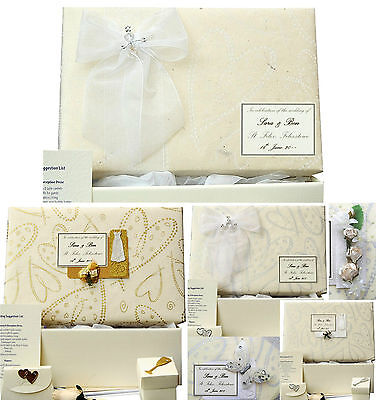 X LARGE Wedding Keepsake Box PERSONALISED Ivory/Silver/Gold, 4 Motifs +/- Extras