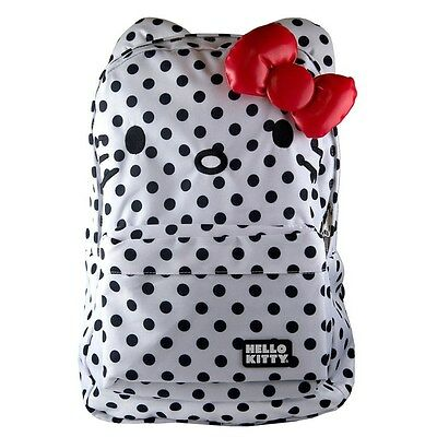 NWT Loungefly Hello Kitty White with Black Polka Dots & Ears Backpack & 3D Bow