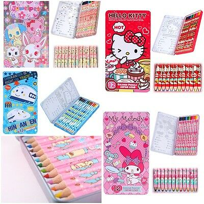 HELLO KITTY JEWELPET LITTLE TWINS STAR 12 12 COLORS METAL BOX COLOR PENCIL 763