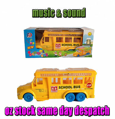 New kids boys battery powered school bus toy w/ music and light Christmas gift