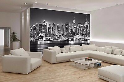 NEW YORK CITY SKYLINE MANHATTAN Photo Wallpaper Wall Mural BLACK&WHITE