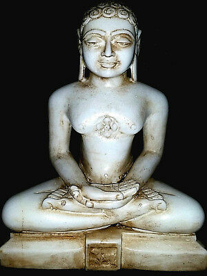 Grande Buddha Budda Oriente Jain 1 Trilogy Old Epoca 800 Antique In Marmo Bianco