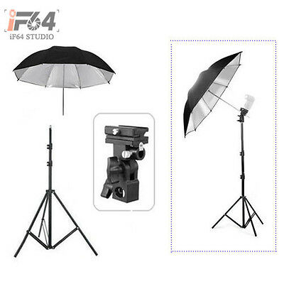 "Light Stand + Flash Bracket B Mount + 33"" Black & Silver Umbrella Kit flash kit"
