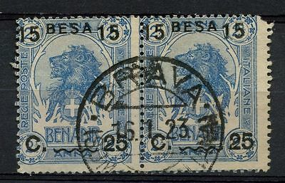 Somalia 1922 SG#26 15b On 25c On 2.5a Elephant Used Pair #A41901