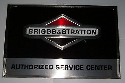 """Briggs and Stratton Authorized Service Center Embossed Metal Sign 35"""" x 23"""" NOS"""
