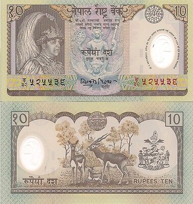 Nepal P45, 10 Rupee, king's accession to the throne / stag - POLYMER, 2002, UNC