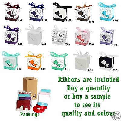 Love Heart  Wedding Favour  Boxes Party Sweets Boxes 15 Colours Choices