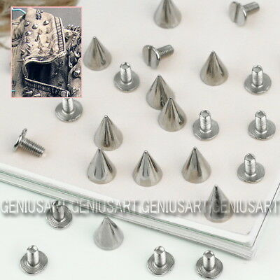 12X 10mm Goth Punk Metal Cone Screwback Spikes Studs Leather Bag Cloth Shoes DIY
