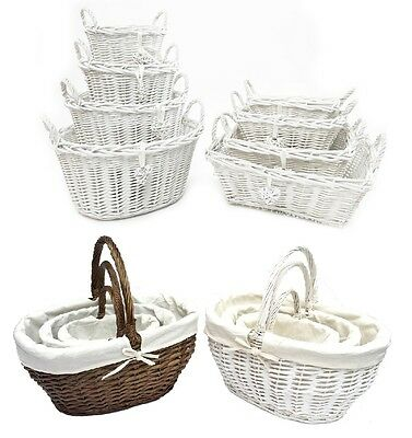 Oval Rectangl White French Shabby Chic Wicker Kitchen Crafts Home Storage Basket