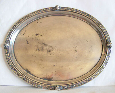 ANTIQUE MID 19th CEN. SILVER OVAL  TRAY BY CARL GOTTFRIED FREYTAG - 312 grams