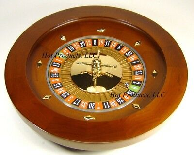 "Roulette Wheel 16"" SOLID WOOD ** POLISHED REAL BRASS TURNSTILE Professional RAKE"