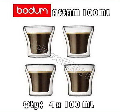IN BOX BODUM ASSAM DOUBLE WALL CLEAR THERMO-GLASSES ESPRESSO CUPS x4 100ML
