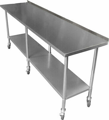 2134 x 610mm NEW STAINLESS STEEL PORTABLE WORK BENCH TABLE W/ WHEELS CASTORS
