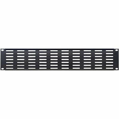 2u Rack Panel U Shaped Horizonal Vents 1.5mm Steel Black Finish