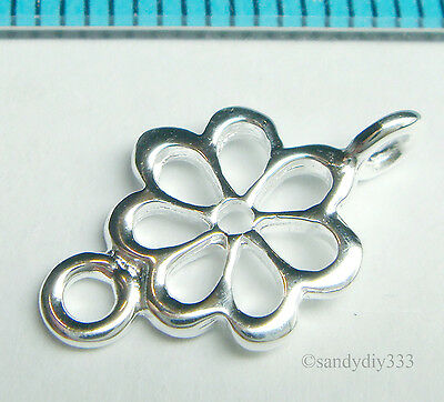 2x BRIGHT STERLING SILVER FLOWER CHANDELIER CONNECTOR BEADS N454