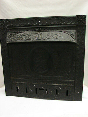 Huge Antique Late 1800's Tin Portrait Man Gas Fireplace Summer Cover Surround