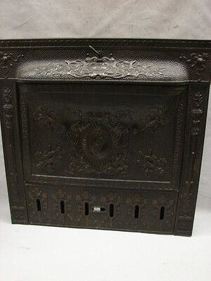 Oversized Antique Late 1800's Tin Ornate Shield Gas Fireplace Tin Summer Cover