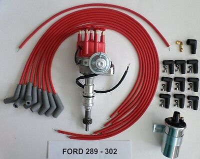 8.5mm RED PLUG WIRES+CHROME COIL FORD 289 302 SMALL FEMALE CAP HEI DISTRIBUTOR