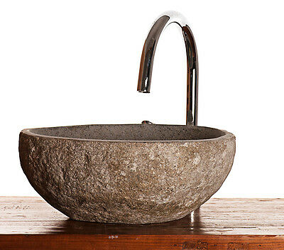 River rock natural stone granite  wash basin for bathroom or cloakroom
