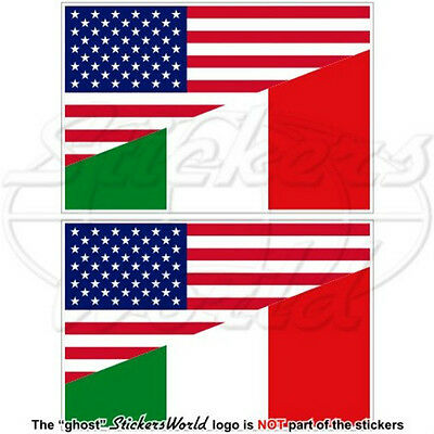 """USA United States America & ITALY American-Italian Flag 3"""" Stickers, Decals x2"""