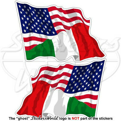 """USA United States America & ITALY American-Italian Flying Flag 3"""" Stickers x2"""