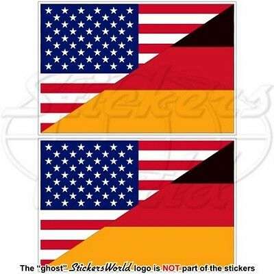 """USA United States America & GERMANY American-German Flag 3"""" Stickers-Decals x2"""
