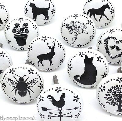 These Please Ceramic China Clock Flower Butterfly Stag Door Knobs Handles Drawer