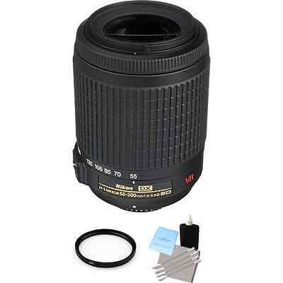 Nikon Zoom-Nikkor 55-200mm F/4.0-5.6 AF-S VR DX IF ED G Lens + UV & Cleaning Kit