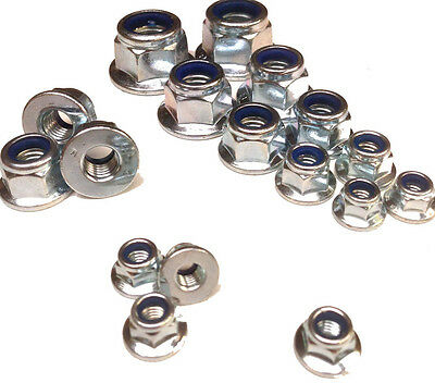 Nylon Insert Locking Nuts, With Flange - Zinc - Metric M5 M6 M8 M10 M12 Nyloc