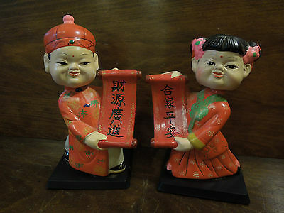 Vintage Pair of Male and Female Asian Bobbleheads-Made of Plaster