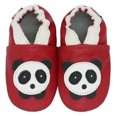 carozoo panda red 2-3y soft sole leather baby shoes slippers