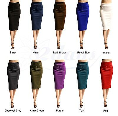 WOMEN SOLID SEXY ELEGANT STRAIGHT PENCIL SKIRT - MADE IN USA (MORE COLORS)