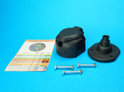 13 Pin Towing Socket with Gasket Seal & Bolts for Trailers & Caravan