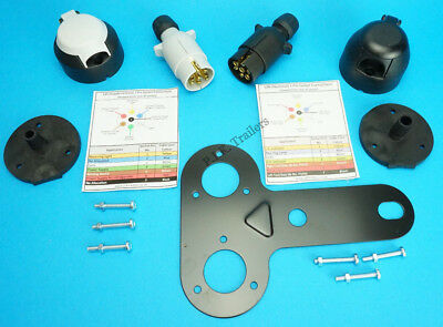 Towing Plugs & Sockets with Gaskets with Mounting Plate 7 Pin 12N & 12S  Caravan