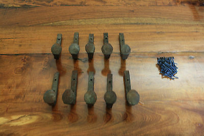 10 Old Railroad Spike Horse Tack Hooks, Barn Handles, or Knobs Retro Vintage
