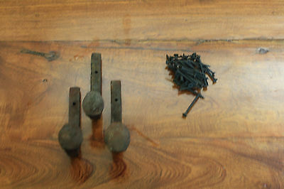 3 Old Railroad Spike Horse Tack Hooks, Barn Handles, or Knobs Retro Vintage