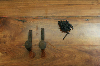 2 Old Railroad Spike Horse Tack Hooks, Barn Handles, or Knobs Retro Vintage