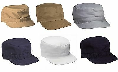 Men's Fatigue Caps - Military Style Solid Color Fitted Cap Hat Gorra XS - 2XL