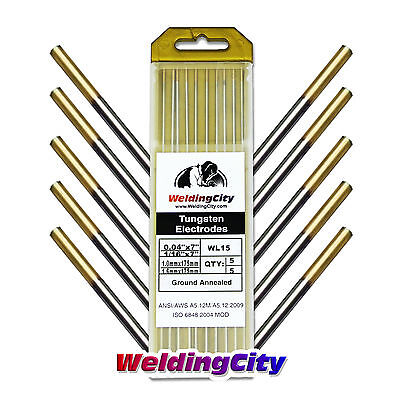 WeldingCity 1.5% Lanthanated TIG Tungsten Rod (Gold) Assorted 040 -1/16 x7 10pk