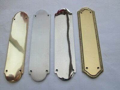 "12"" Heavy Duty Solid Cast Brass Regency Finger Plate Door Push Plate New"