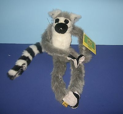"New K&M Wild Republic 16"" Hanging Closure Paws Ringtail Lemur Monkey Plush Lisha"
