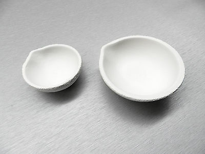 MELTING DISH SET CRUCIBLES CUP 1 EACH 40 dwt &100 dwt FUSED SILICA CERAMIC ITALY