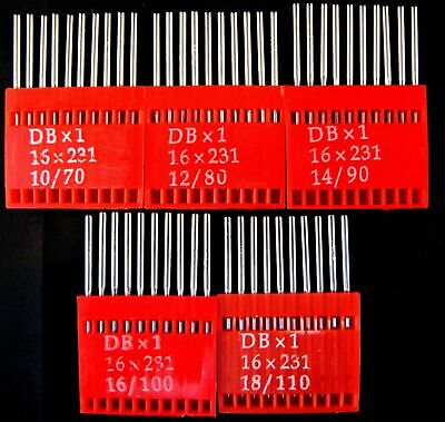 Flatbed Industrial Sewing Machine Needles - Sizes 10 / 12 / 14 / 16 / 18 - DBx1