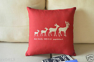 Vintage Country Style Carton Red Reindeer Decor LINEN CUSHION COVER PILLOW CASE